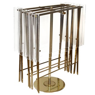 Charles Hollis Jones Clear Lucite and Brass Trays with Brass Stand For Sale