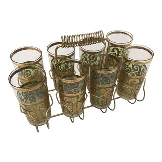 Vintage Set of Eight Culver Toledo Drink Set With Brass Cart