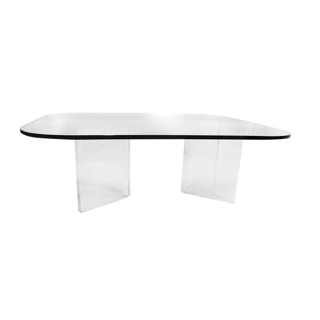 Mid Century Modern Lucite Base Glass Top Coffee Table For Sale - Image 4 of 11