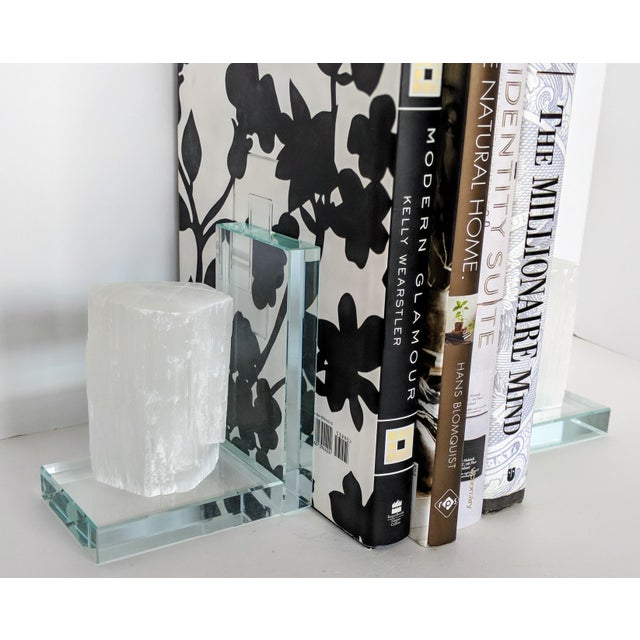 Lead Crystal & Selenite Bookends - Two (2) For Sale - Image 4 of 11