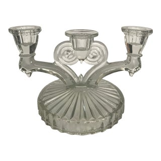 Vintage 3 Candle Glass Candle Holder For Sale