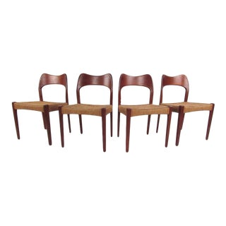 Scandinavian Modern Teak & Papercord Dining Chairs - Set of 4 For Sale