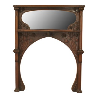 Early 20th Century French Art Nouveau Mahogany Fireplace Mantel For Sale