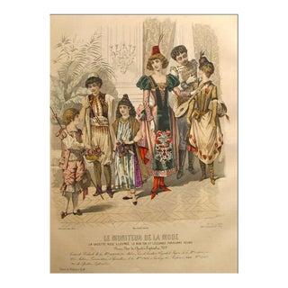 1885 Moniteur De La Mode, Parisian Ladies Fashion (Plate 52-1885) For Sale