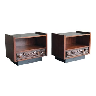 Sculptural Pair of Witco Oceanic Nightstands by Pulaski For Sale