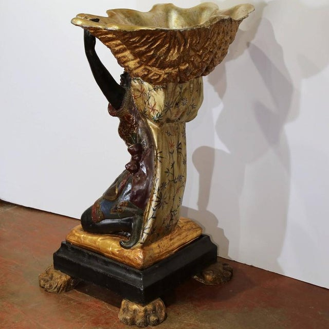 Wood 19th Century Italian Carved Polychrome Blackamoor Sculpture With Jardiniere For Sale - Image 7 of 10