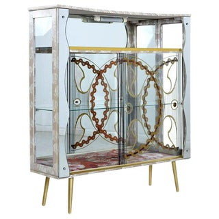 Painted Glass and Mirror Mid-Century Deco Regency Glam Gold Accent Curio Cabinet For Sale
