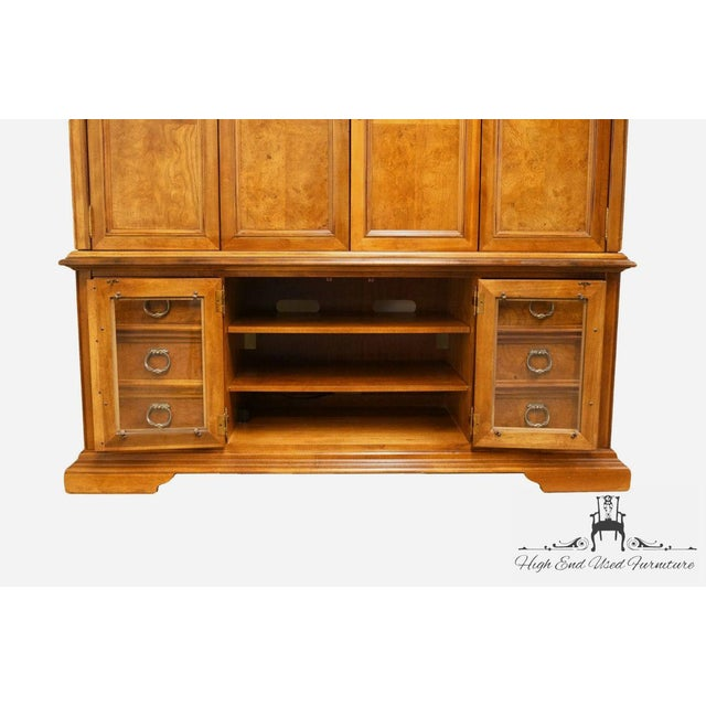 "Late 20th Century Stanley Furniture Contemporary Oak and Burled Walnut 72"" Media Tv Console Cabinet For Sale - Image 5 of 12"