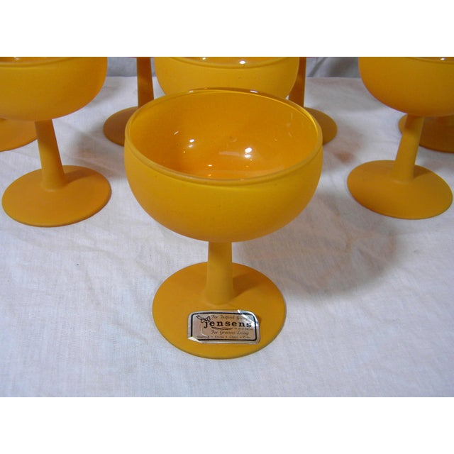 Vintage Frosted Butterscotch-colored champagne glasses. Lovely footed bases. These are unused vintage stock. Set of 8.