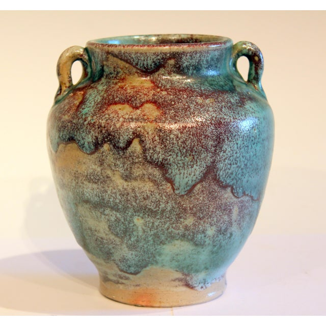 Vintage 1940s Pottery Arts & Crafts Jugtown Flambe North Carolina Chinese Jun Vase For Sale - Image 12 of 12