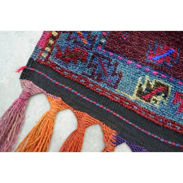 Kurdish Hand Knotted Burgundy Herki Tribal Rug - 3′2″ X 12′ - Image 9 of 10