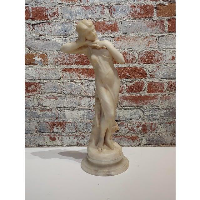 Berlincioni -Beautiful Nymph -Italian Art Nouveau Alabaster Sculpture carved Alabaster sculpture -Signed C.Berlincioni...
