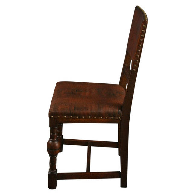 Vintage 1930 French Leather & Oak Dining Chair - Image 7 of 10