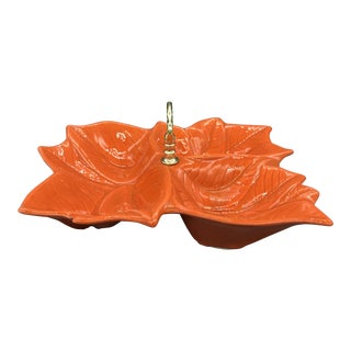 Vintage Usa Pottery Orange Leaf Candy Dish/ Mid-Century Serving Dish With Handle