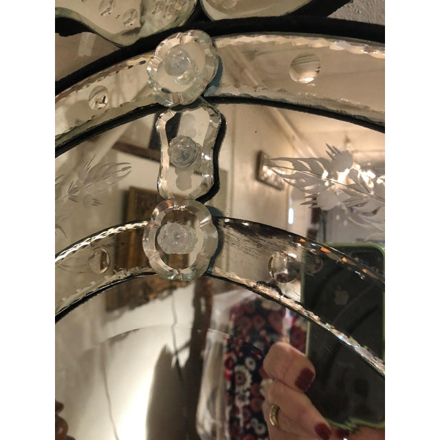 Italian Venetian Style Etched Oval Mirror For Sale - Image 3 of 11