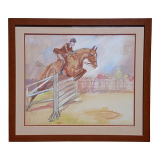 1980s Vintage Horse & Rider Pen/Ink Acrylic Painting