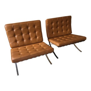 1960s Vintage Gerald R. Griffith for Mies Van Der Rohe Barcelona Chairs- A Pair For Sale