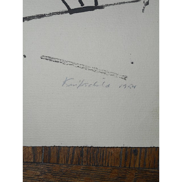 """Abstract Original Modernist Drawing by American Artist-Robert Knipschild-""""JerseyTurnpike""""-Signed/Dated """"1954"""" For Sale - Image 3 of 7"""