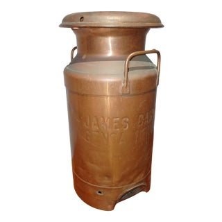 1920s Vintage Solid Copper Milk Can for James Canyon Ranch, Genoa Neveda Canister For Sale