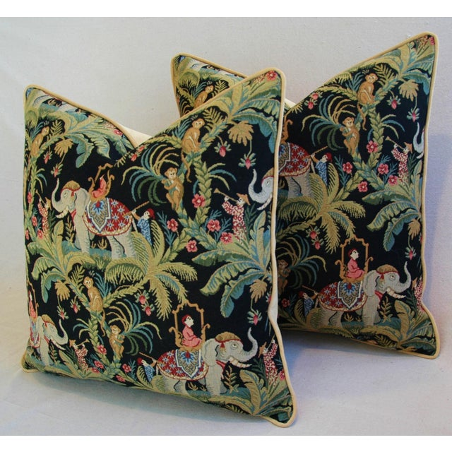 Custom English Tapestry Jungle Paradise Pillows - a Pair - Image 8 of 10
