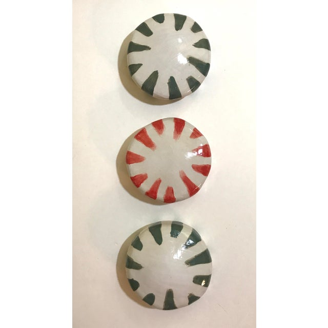 Red Ceramic Wall Donuts - Set of 3 For Sale - Image 8 of 8