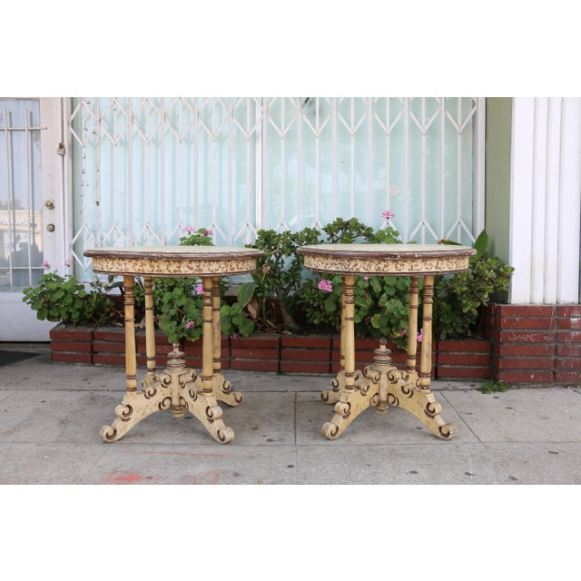Campaign 1950s Campaign Carved and Hand Painted Tall Center Tables - a Pair For Sale - Image 3 of 12