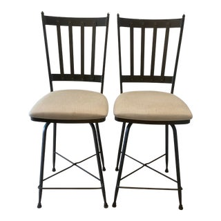 1900s Charleston Forge Swivel Iron Counter Stool - a Pair For Sale
