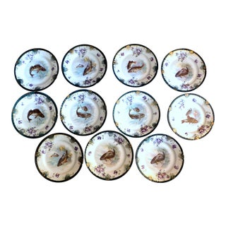 19th Century Victoria Carlsbad Fish Plates - Set of 11 For Sale