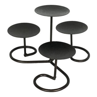 Modern Abstract Iron Swirl Candle Holder Candleabra For Sale