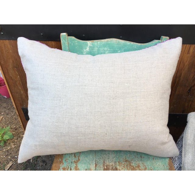 An absolutely fabulous custom made pillow using a vintage hand embroidered tribal textile in a gorgeous purple with cream...