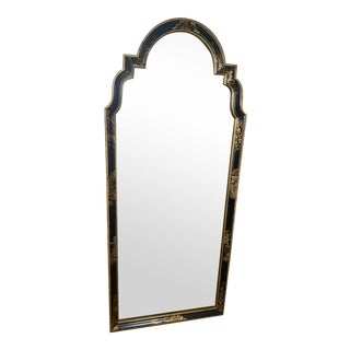 1960s Chinoiserie Black and Gold Arched Full Length Mirror For Sale