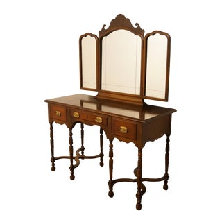 """1940's Traditional Mahogany 48"""" Vanity With Tri-Fold Mirror For Sale"""