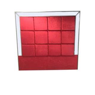 Contemporary Red Velvet Extra Tall King Size Upholstered Headboard