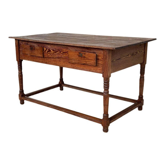 Early 19th Century French Refectory, Work or Kitchen Table With Two Drawers For Sale