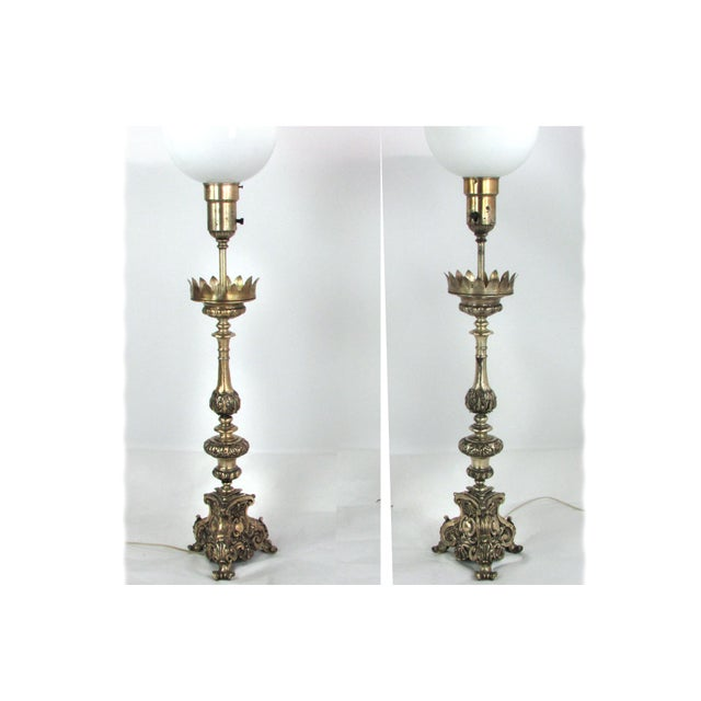 Ornate Hammered Tin Lamps - A Pair - Image 5 of 7