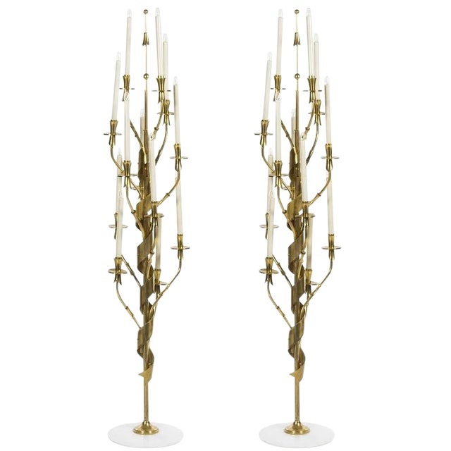 1960s Mid-Century Modern Stilnovo Brass and Marble Floor Lamps - a Pair For Sale