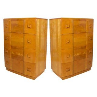 Mid-Century Modern Heywood Wakefield Maple Highboy Rio Dressers, Chest 1940's - a Pair For Sale