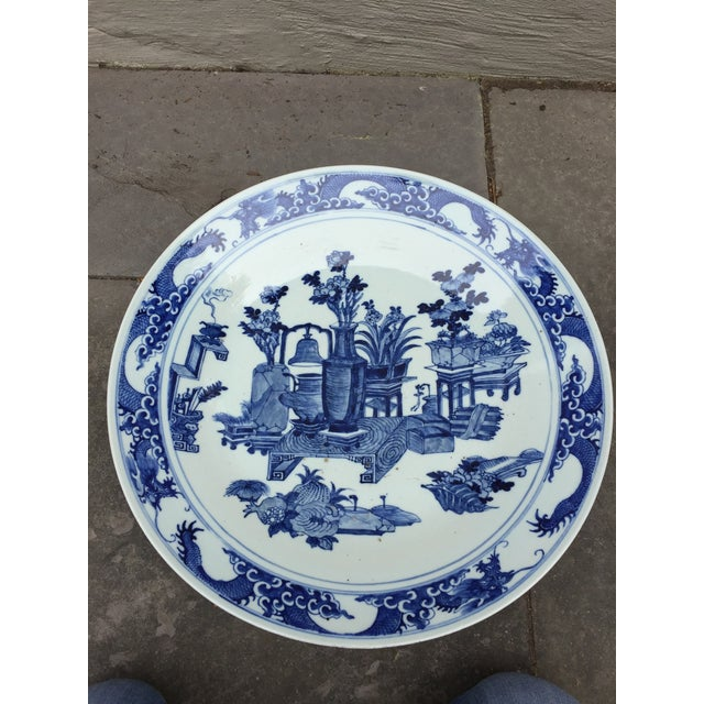 1950s 1970's Chinoiserie Blue China Platter Charger For Sale - Image 5 of 7