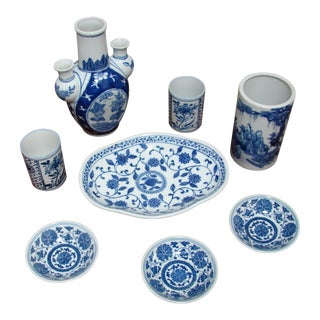 20th Century Blue & White Vases & Serving Pieces - Set of 8