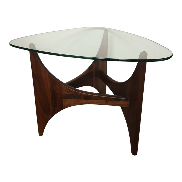 Adrian Pearsall for Craft Associates Tripod Glass Top Side Table For Sale