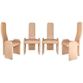 1970s Vintage Italian Modernist Dining Chairs - Set of 4 For Sale
