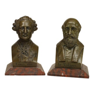 Mid-19th C. French Louis XVI and Titian Busts by Chardigny - a Pair For Sale