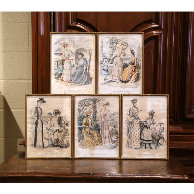 """19th Century French Color Women Fashion Prints Framed Dated 1890 """"Set of Five"""" For Sale - Image 13 of 13"""