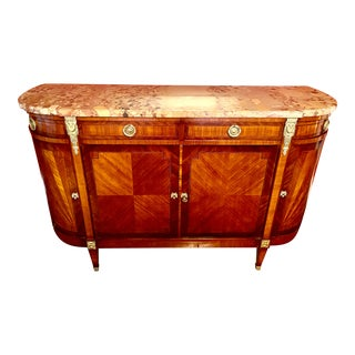 Francesco Molon for Giemme Louis XVI Style Parquetry Sideboard With Marble Top For Sale
