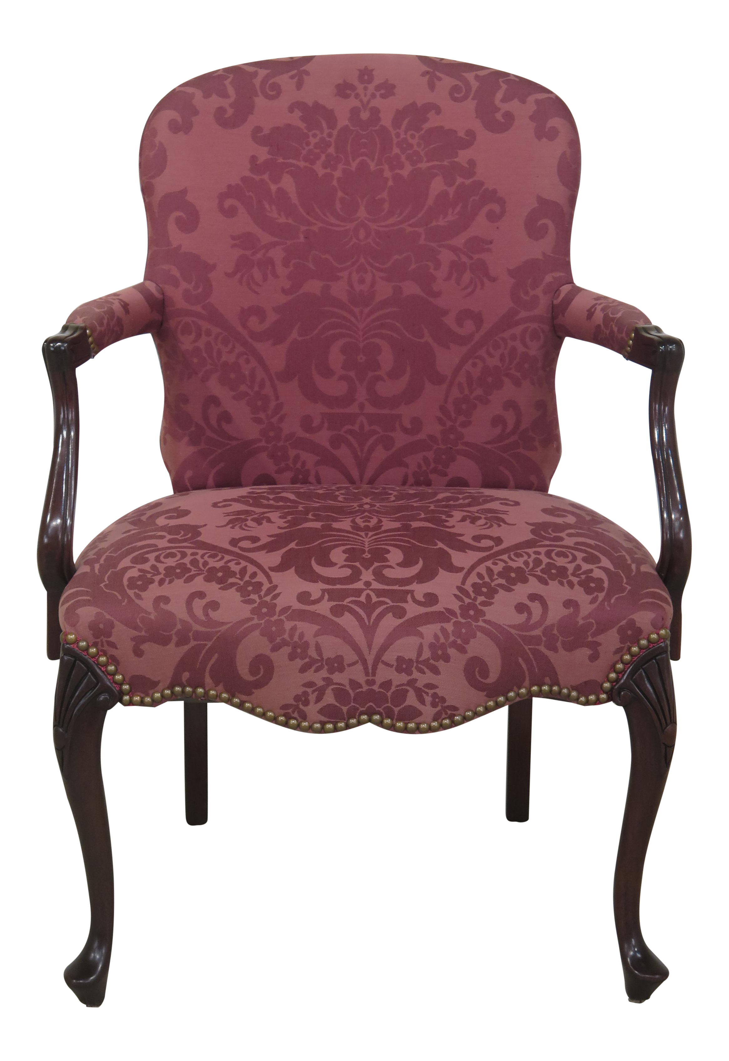 Hickory Chair Co. Queen Anne Mahogany Damask Armchair   Image 1 Of 13