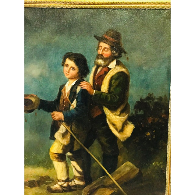 19th Century French Peasants, Oil on Canvas For Sale - Image 4 of 5