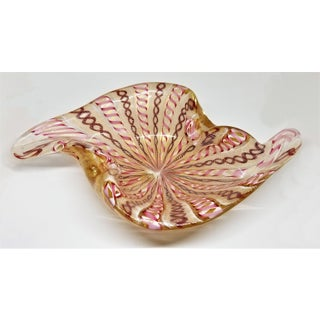 Large Murano Bowl - Pink White and Gold by Fratelli Toso - Mid Century Modern Palm Beach Boho Chic Italian Italy Preview