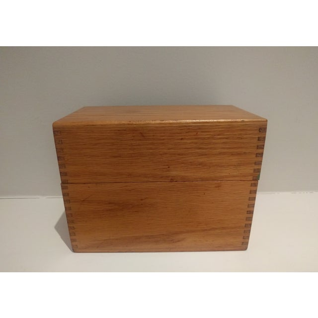 Vintage Golden Oak Wooden Index Box - Image 2 of 7