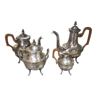 Late 1890s French Empire Style Silver Plated Tea and Coffee Service Set by Raoul Mauger - 4 Pc. Set For Sale