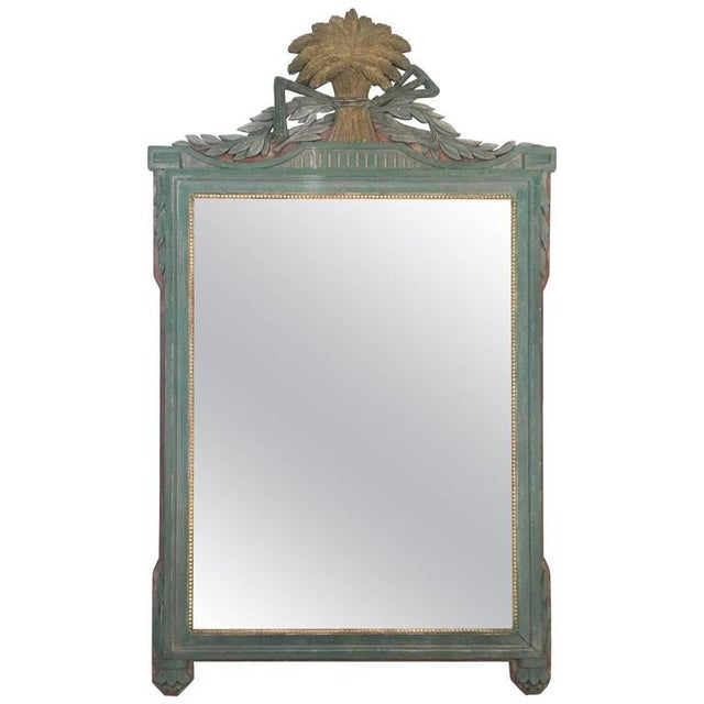 French Painted Louis XVI Style Mirror with Agricultural Motifs - Image 1 of 4